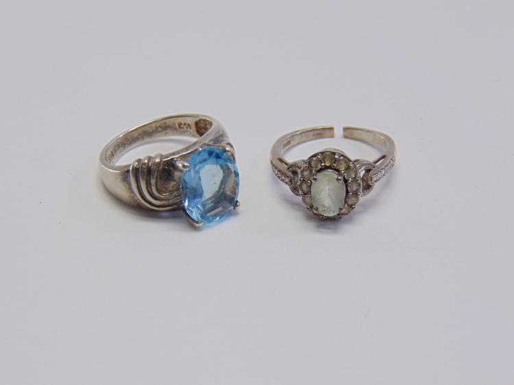 Lot of 2 Sterling Silver Blue Topaz and Quartz Rings Sz 7