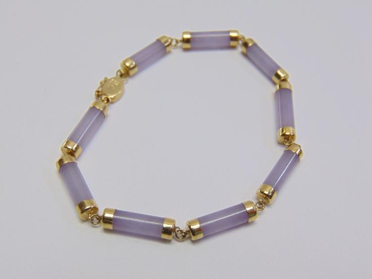 "6.6 Gram Beautiful 14K Yellow Gold and Lavender Jade 7"" Bracelet"