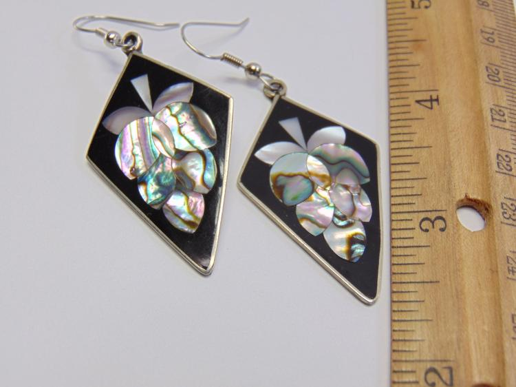 Lot 177: Mexican Made Alpaca Nickel Silver & Mother of Pearl Grape Cluster Earrings