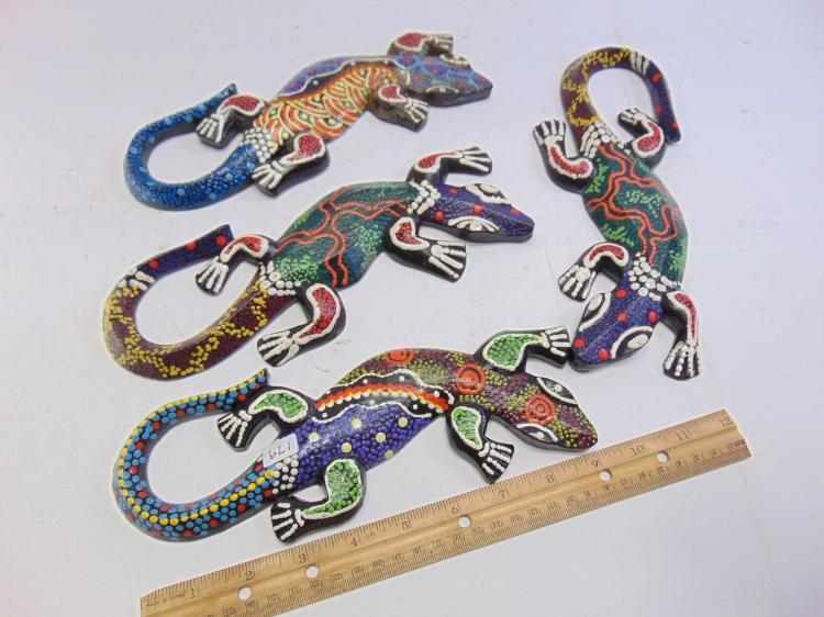 Lot 179: Lot of 4 Hand Carved and Painted Wood Indonesian Lizards