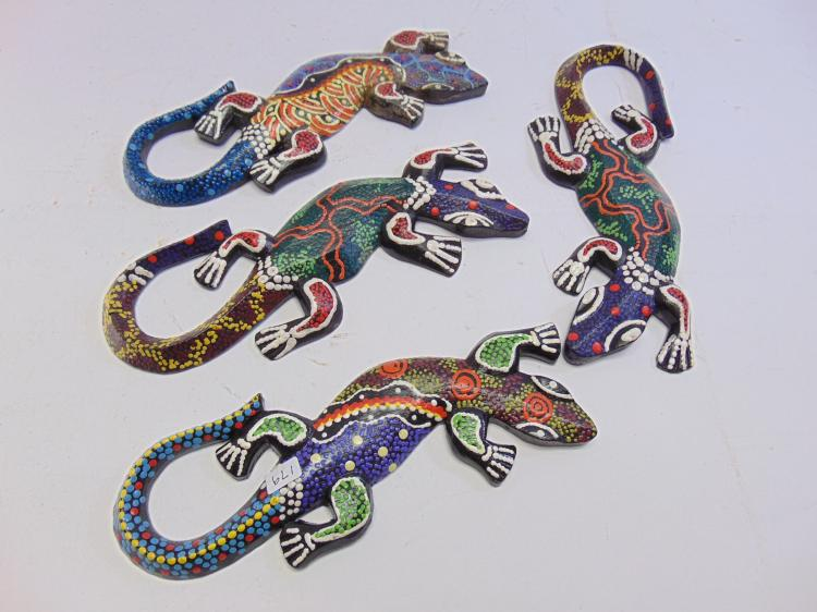 Lot of 4 Hand Carved and Painted Wood Indonesian Lizards