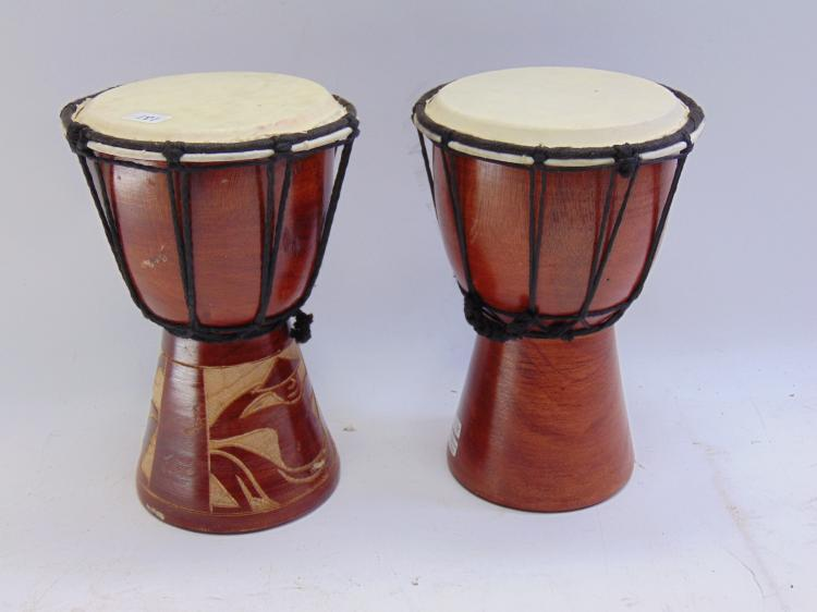 Lot of 2 10 Inch Hand Carved Wood African Djembe Drums