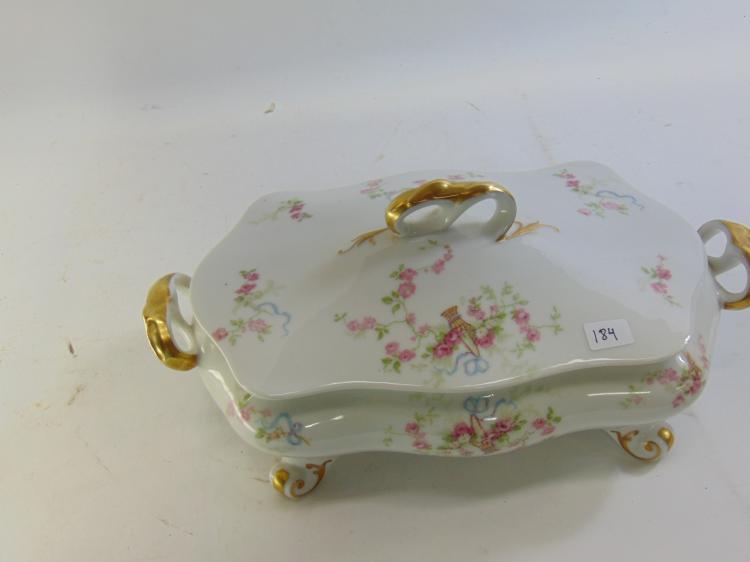 Lot 184: Old Abbey Limoges France Lidded & Footed Gold Gilt Flower Serving Dish