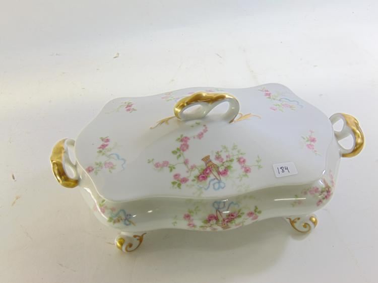 Old Abbey Limoges France Lidded & Footed Gold Gilt Flower Serving Dish