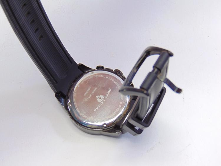Lot 188: Swiss Legend Monte Carlo Black Chronograph Watch on Silicone Band