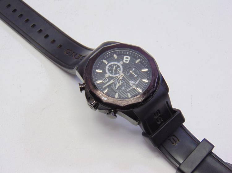 Swiss Legend Monte Carlo Black Chronograph Watch on Silicone Band