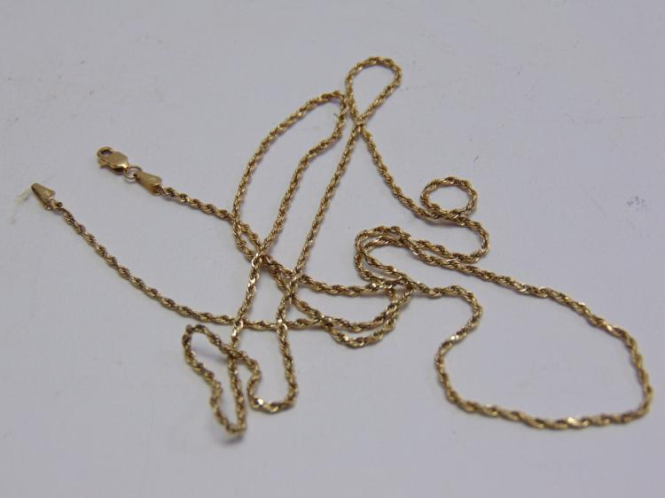 "3.4 Gram 14K Yellow Gold 24"" Braided Chain Necklace"