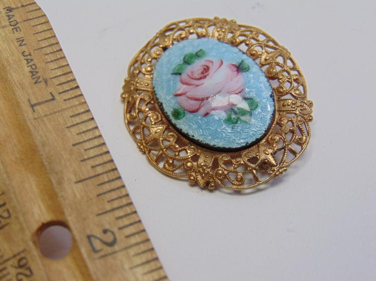 Vintage Gold Tone Ormolu Hand Painted Costume Jewelry Flower Brooch