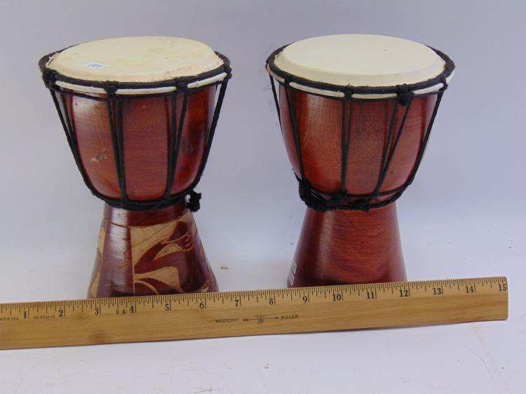 Lot 181: Lot of 2 10 Inch Hand Carved Wood African Djembe Drums