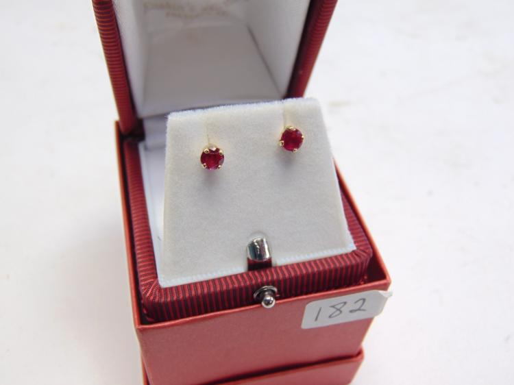 14k Yellow Gold and Ruby Post Stud Earrings New in Box