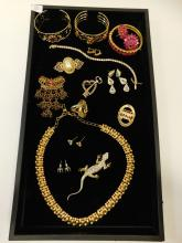 Mixed Costume Jewelry Lot Including Necklaces Bracelets Rings Brooches Rhinestones
