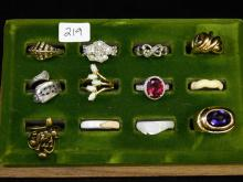 Lot Of 12 Vintage And Modern Costume Jewelry Rings Including One Sterling Ring Carved Shell And Bone Rings