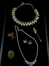Vintage Costume Jewelry Lot Including Blue Rhinestone Necklace And Earrings Set