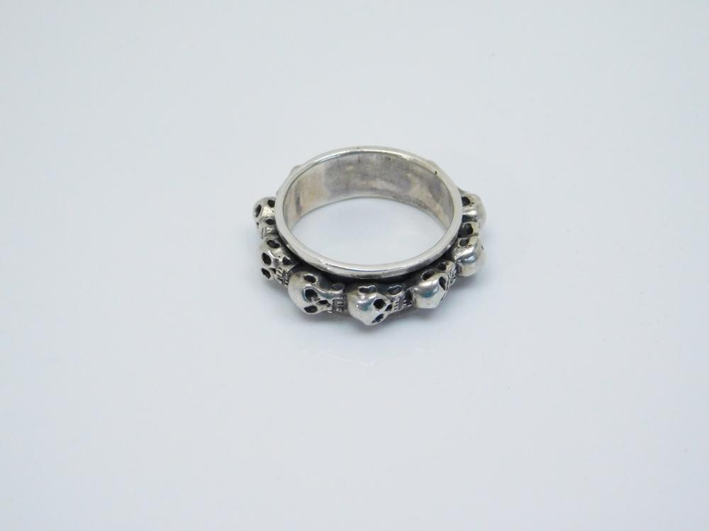 Mens Sterling  Silver Skull Spinner Biker Ring 12.7G Sz11.25
