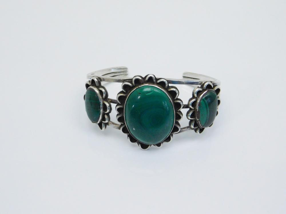 Vintage 3 Stone Native American Or Mexico Sterling Silver Malachite Cuff Bracelet 46G