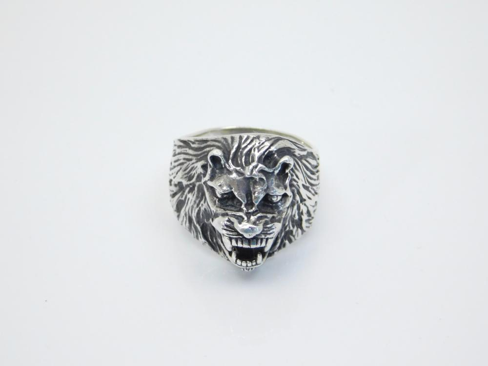 Mens Chunky Sterling Silver Roaring Lions Head Ring 18.9G Sz10.5