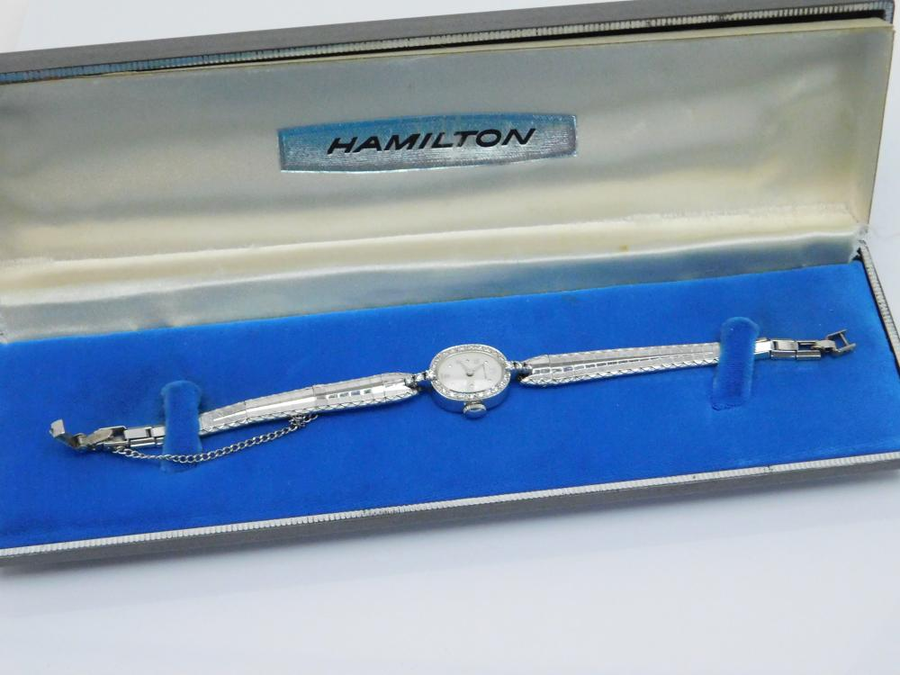 Vintage 14K White Gold & Diamond Hamilton Ladies Wind Up Wrist Watch In Box 15.2G