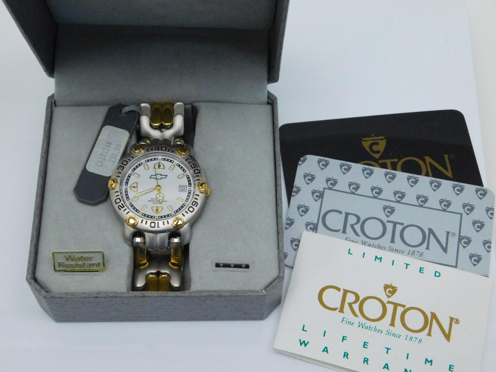 Mens Croton Chevrolet Symbol Wrist Watch In Box