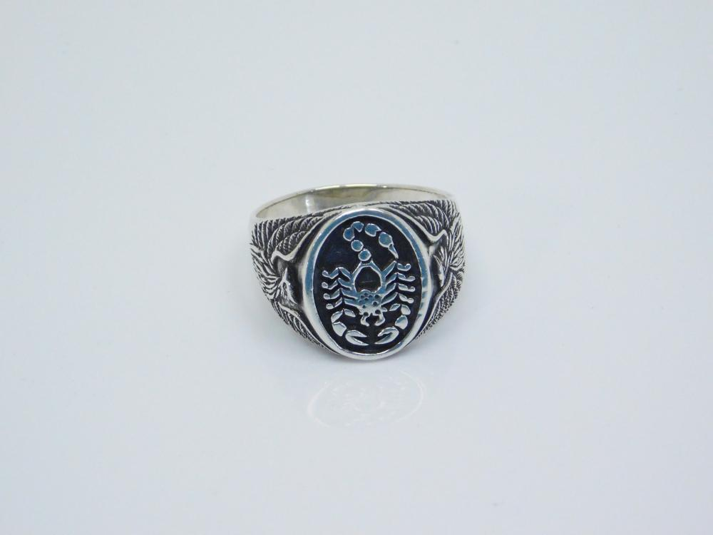 Mens Sterling Silver Scorpion  Eagle Ring 7.2G Sz13.75