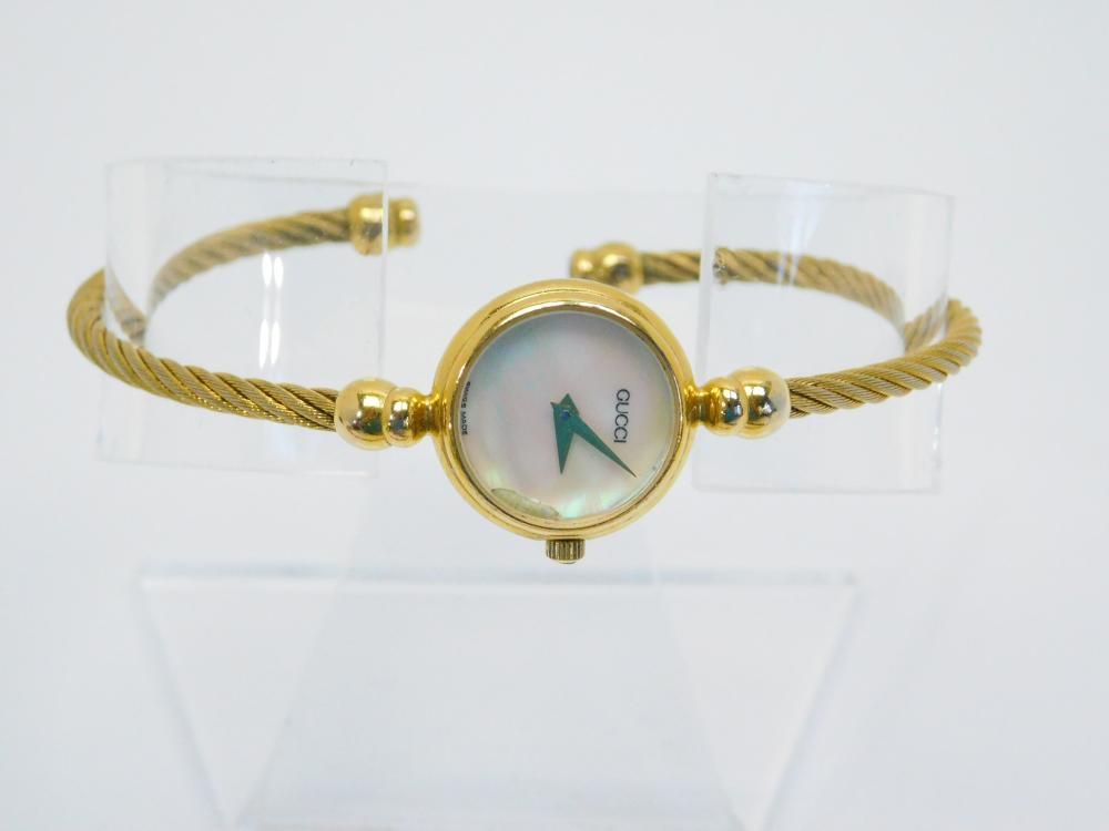 Womens Gucci Goldtone Mop Face Cable Bracelet Wristwatch