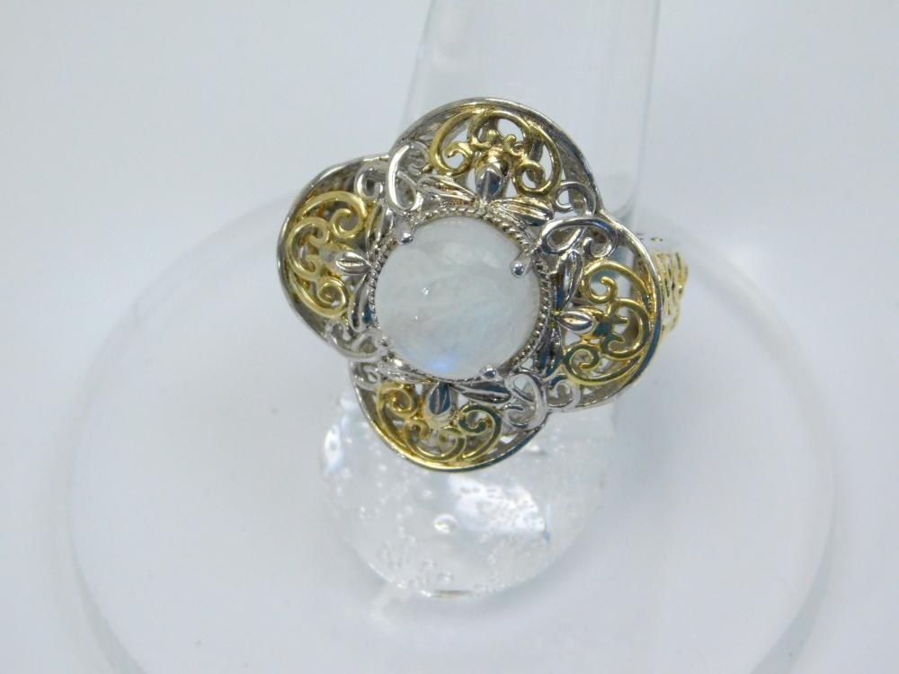Sts Sterling Silver Moonstone Filigree 2 Tone Fashion Ring 8G Sz7