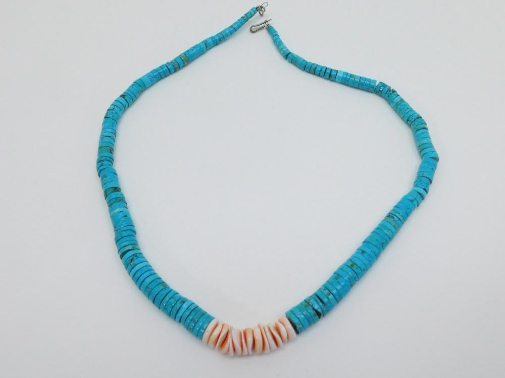 Vintage Native American Navajo Turquoise & Shell Graduated Bead Necklace