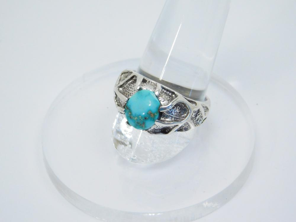 Custom Sterling Silver Turquoise Webbed Ring 6.5G Sz8.5