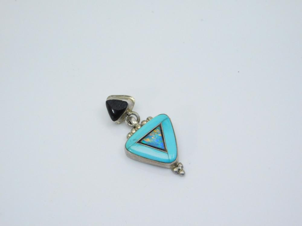 Vintage  Native American Zuni Sterling Silver Turquoise Opal Inlaid Pendant Chipped 3.7G
