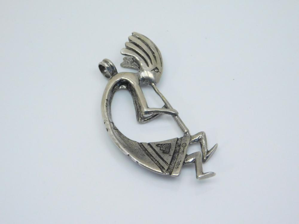 Vintage  Native American Sterling Silver Large Kokopelli Pendant 21.7G