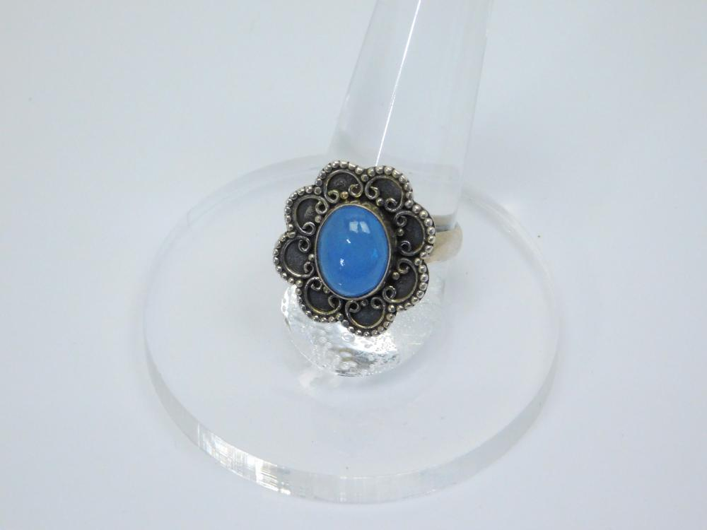 Mexico Or Thailand Sterling Silver Blue Quartz Ring 5G Sz8.25