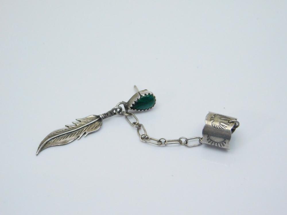 Vintage  Native American Navajo Sterling Silver Malachite Feather Dangle Single Earring With Ear Cuff 3.5G