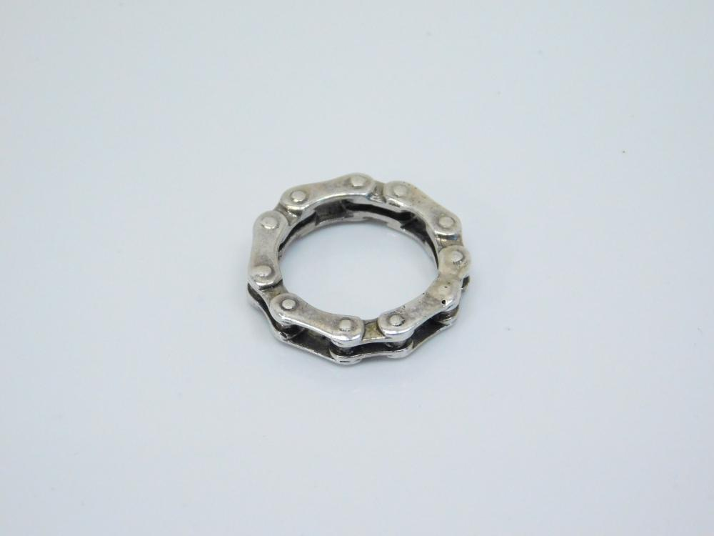 Mens Sterling Silver Biker Motorcycle Drive Chain Link Ring 7G Sz8.5