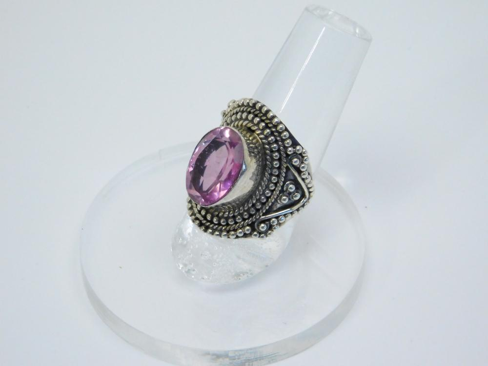 Thailand Sterling Silver Pink Stone Fashion Ring 9G Sz7