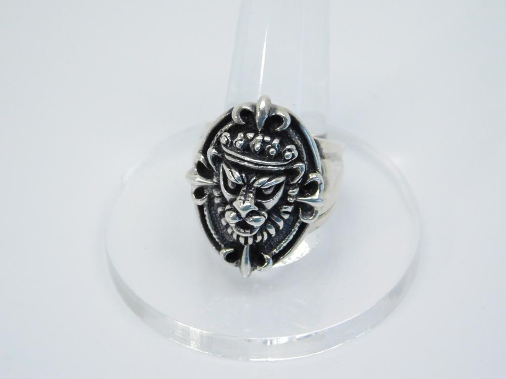 Mens Sterling Silver Crowned Lion King Head Ring 16.9G Sz10.75