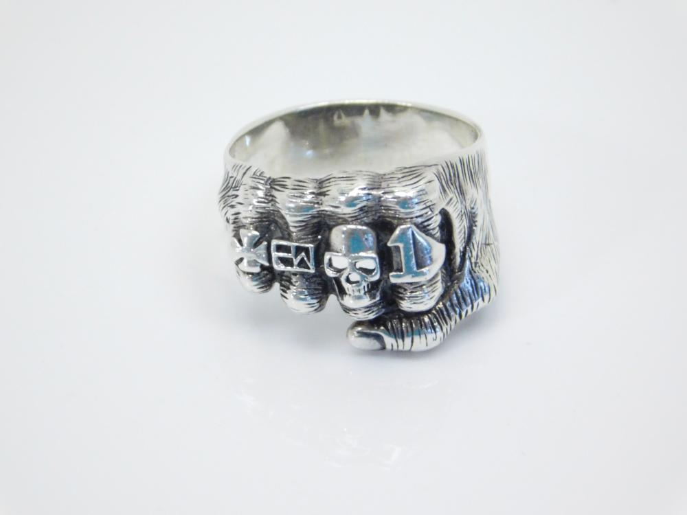 Mens Fist With Biker Rings On Sterling Silver Ring 7.3G Sz11