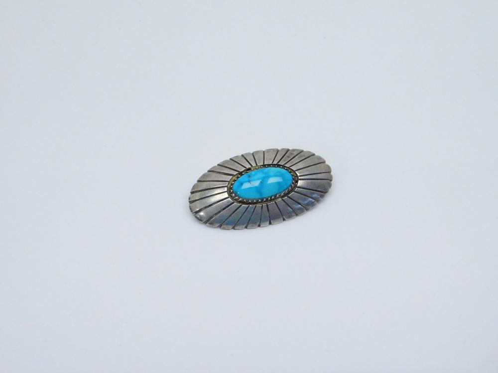 Vintage Native American Navajo W Johnson Sterling Silver Turquoise Shadowbox Brooch 8.5G