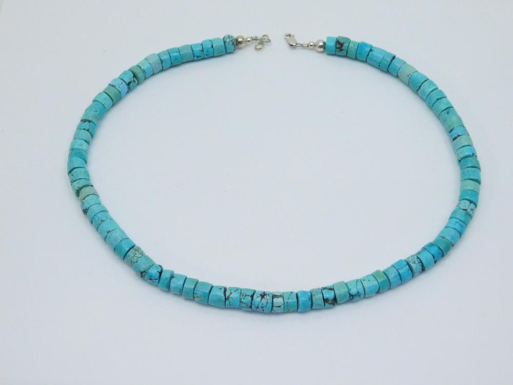Vintage Native American Navajo Sterling Turquoise Handmade Bead Necklace