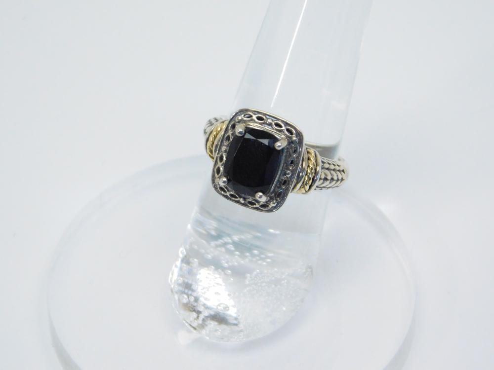 Thailand Sterling Silver 14K Gold Accent Black Onyx Ring 4.4G Sz6