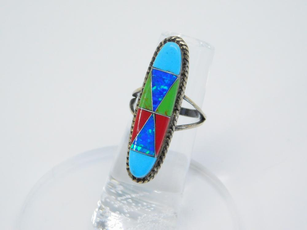 Vintage Native American Sterling Silver Multistone Opal Mosaic Elongated Ring 4.5G Sz4.75