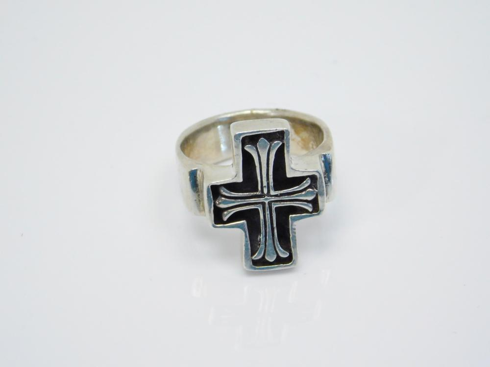 Large Chunky Mens Sterling Silver Cross Ring 13.5G Sz10