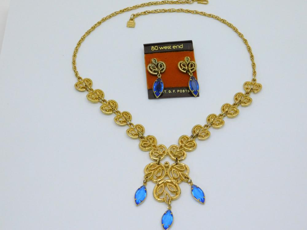 Vintage Costume Jewelry 80 West End Goldtone Blue Stone Necklace & Earrings Set
