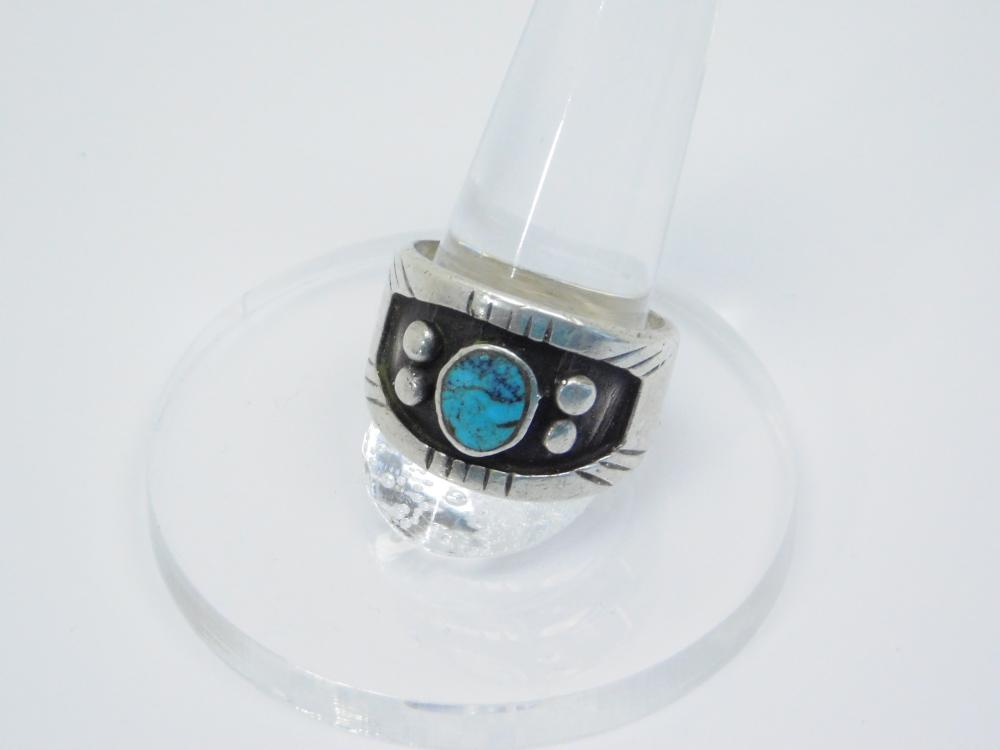 Vintage  Native American Navajo Sterling Silver Turquoise Shadowbox Mens Ring 9.6G Sz10