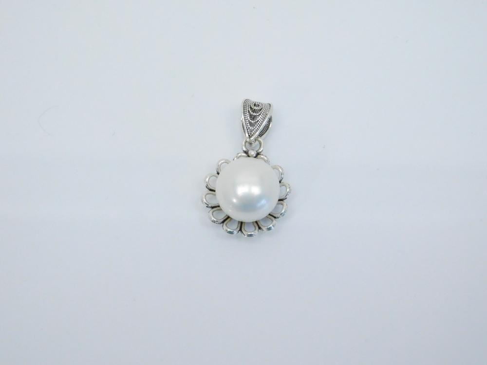Dgs Turkey Sterling Silver Cultured Pearl Filigree Pendant 4.8G