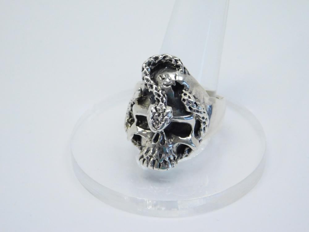 Mens Sterling Silver Biker Snake Wrapped Skull Ring 21G Sz12