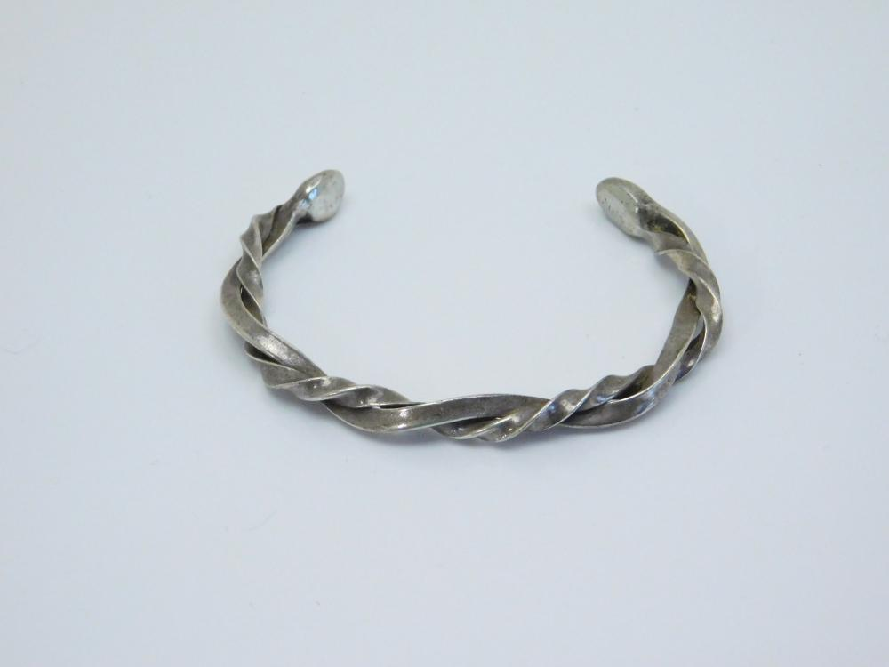 Vintage Native American Sterling Silver Twisted Cuff Bracelet 14.6G