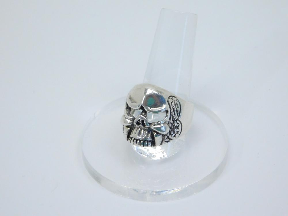 Mens Sterling Silver Biker Skull Ring Cut Out Eyes 12.6G Sz9.75