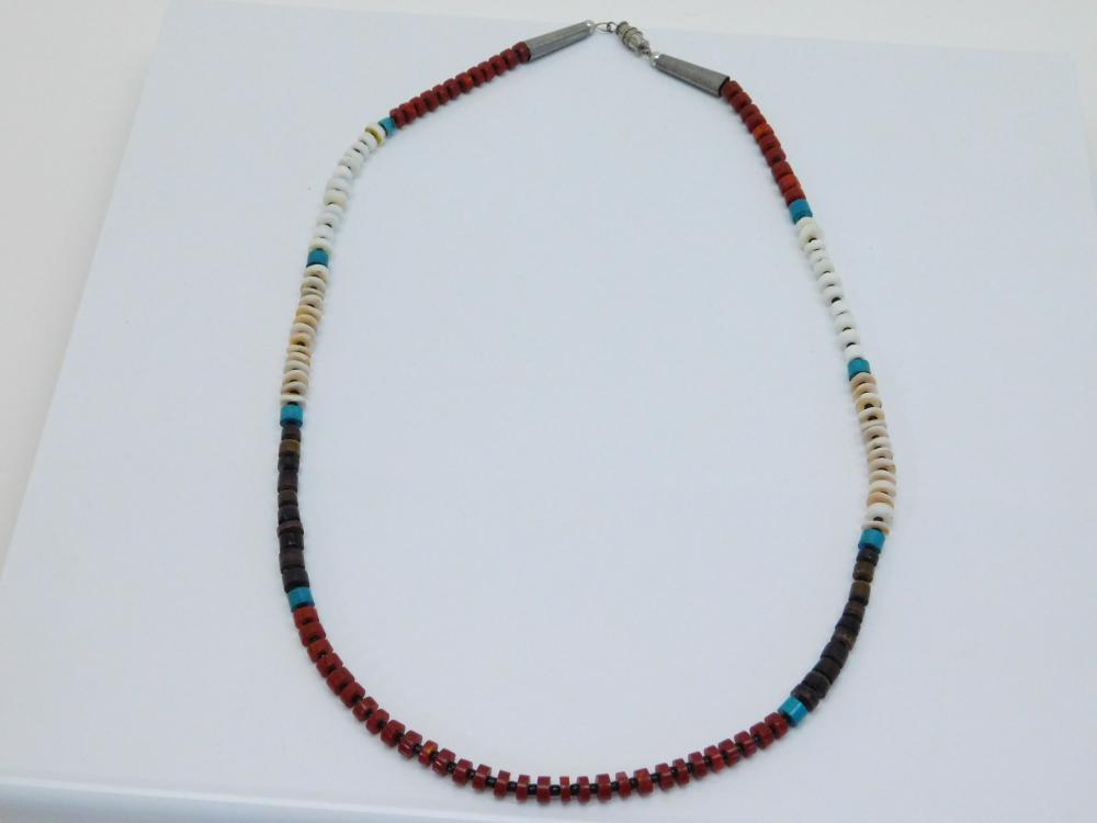 Vintage  Native American Multistone Bead Necklace 16G