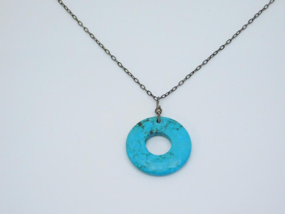 Sterling  Silver Turquoise Donut Ring Pendant Necklace 5.8G