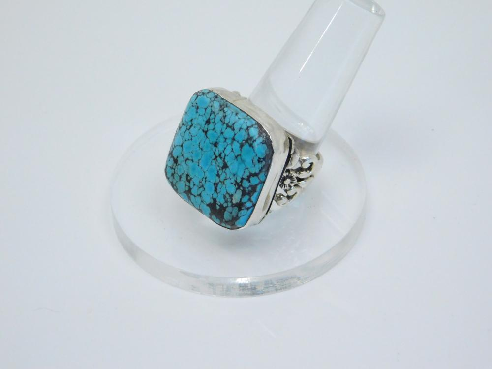 Vintage  Native American Sterling Silver Spiderweb Turquoise Ring 15G Sz10