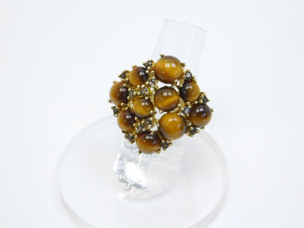 Seta Sterling Silver Tigers Eye Smokey Topaz Cluster Cocktail Ring 11.7G Sz6